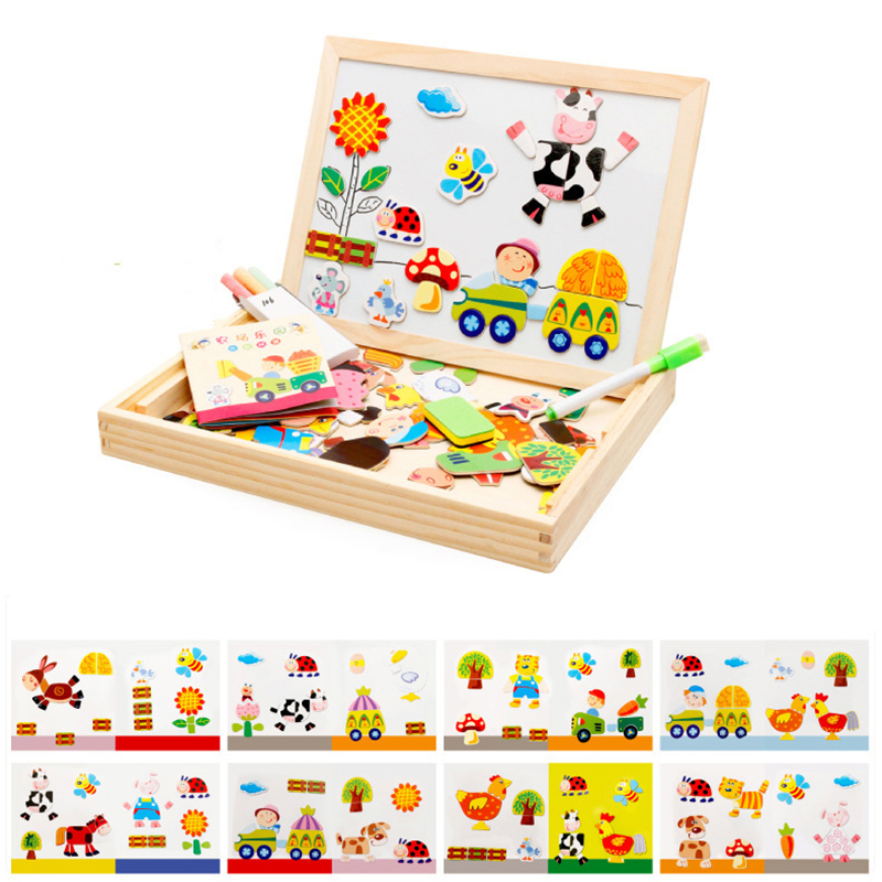 Drawing Writing Board Magnetic Farm 3D Puzzle Double Easel Kids Wooden Toy Sketchpad Gift Children Intelligence Education Toys