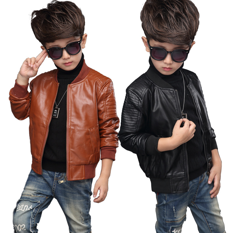 New Baby PU Leather Boy Jacket Thick Velvet Jacket Boys Coats Children Warm Outerwear 2 4 <font><b>6</b></font> 8 <font><b>10</b></font> <font><b>12</b></font> Years Kids Jackets image