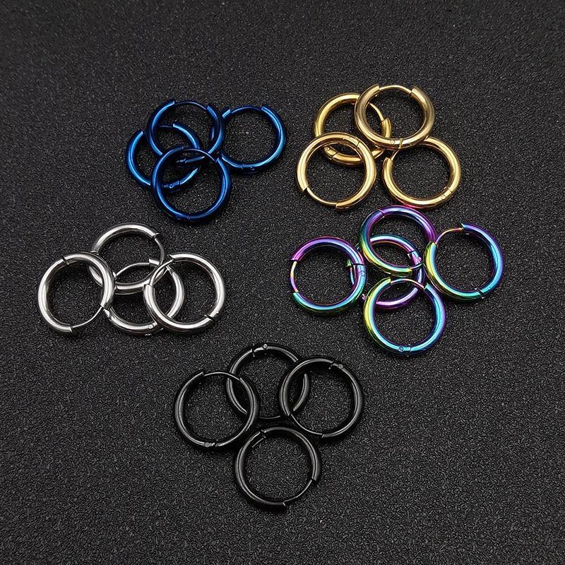 10 шт. серьги-кольца из нержавеющей стали для мужчин и женщин, цвет синий, черный; Большие размеры красочные круглая серьга круга внутренняя Д...
