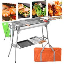 Stainless Steel Portable Charcoal Grill Barbecue Camping Stove Camping Equipment Outdoor Camping Picnic Tool цена 2017