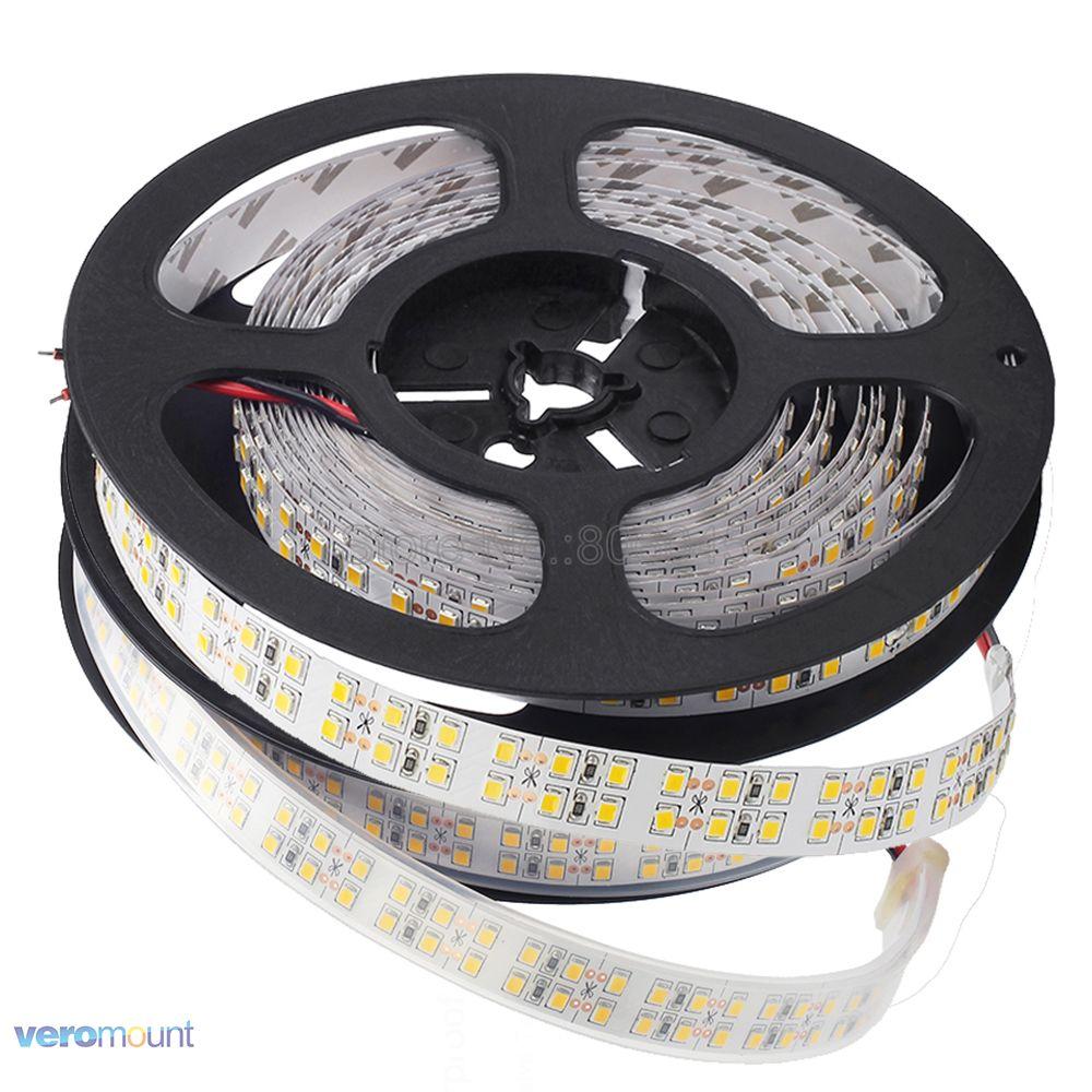 Double Row 2835 LED Strip 1200 LEDs White /Warm White IP20 / IP67 Waterproof 240 Leds/m 3528 SMD Flexible Stripe DC12V Ribbon