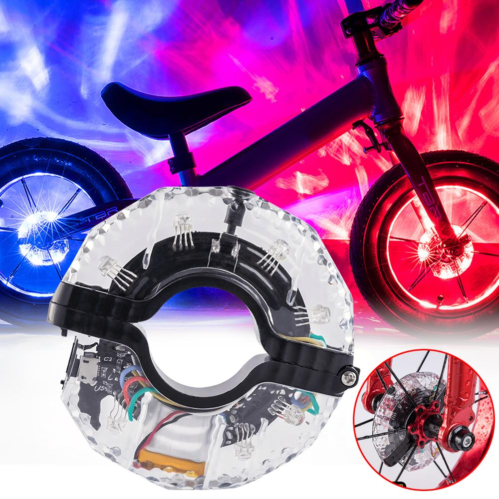 Bicycle Wheel Light Bike Front/Tail Hub Light Cycling Decoration Night Riding Children Balance Car USB Charging Waterproof