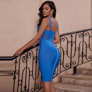 Image 3 - Ocstrade夏セクシーなレーヨン包帯ドレス 2020 新着メッシュインサート女性包帯ドレス黒パーティーナイトクラブボディコンドレス