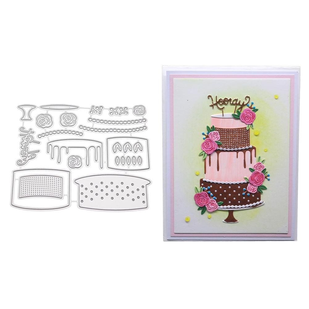 LanLan Birthday Cake Pattern Carbon Steel Cutting Dies For DIY Scrapbook Blessing Card Decor