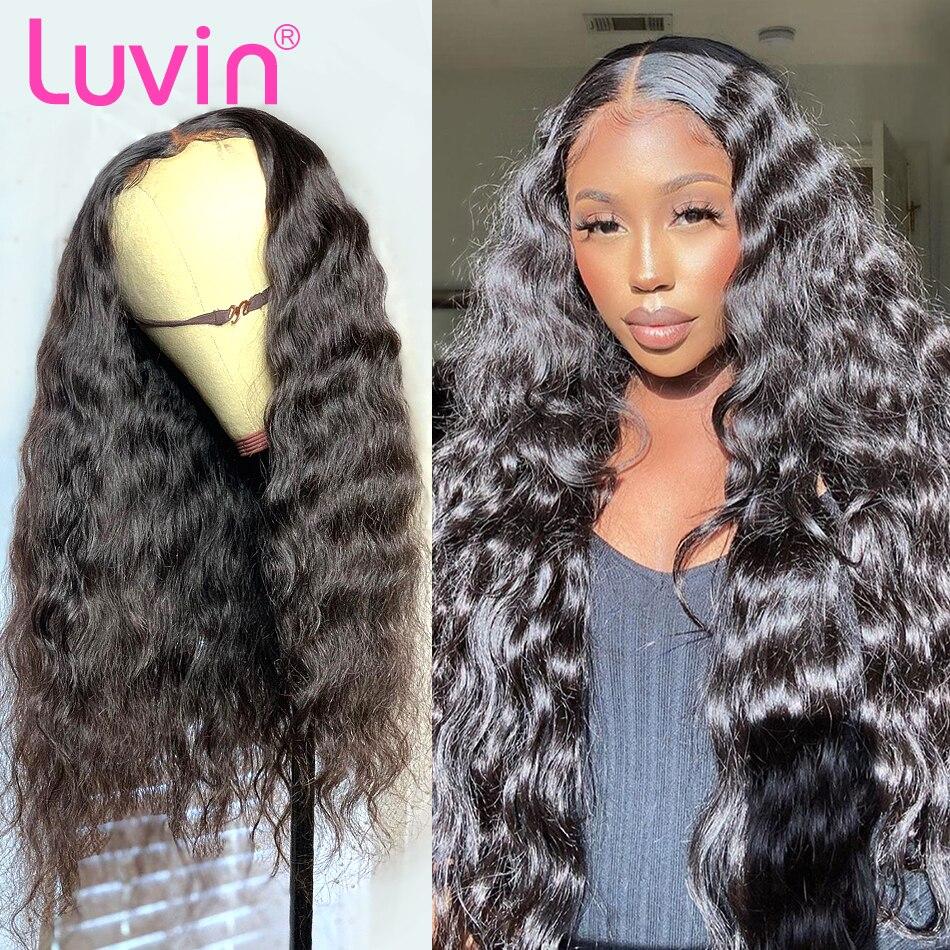 Волнистые волосы luvin 4x4, волосы на застежке, 26, 28, 30 дюймов, кружевные передние волосы, предварительно выщипывающиеся волосы, бразильские воло...