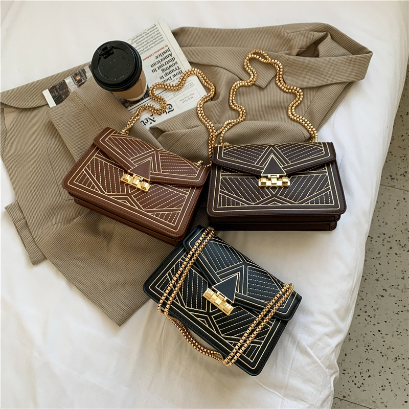 Embroidery Thread Small PU Leather Crossbody Bags for Women 2021 Fashion Luxury High Quality Shoulder Handbags Chain Hand Bag