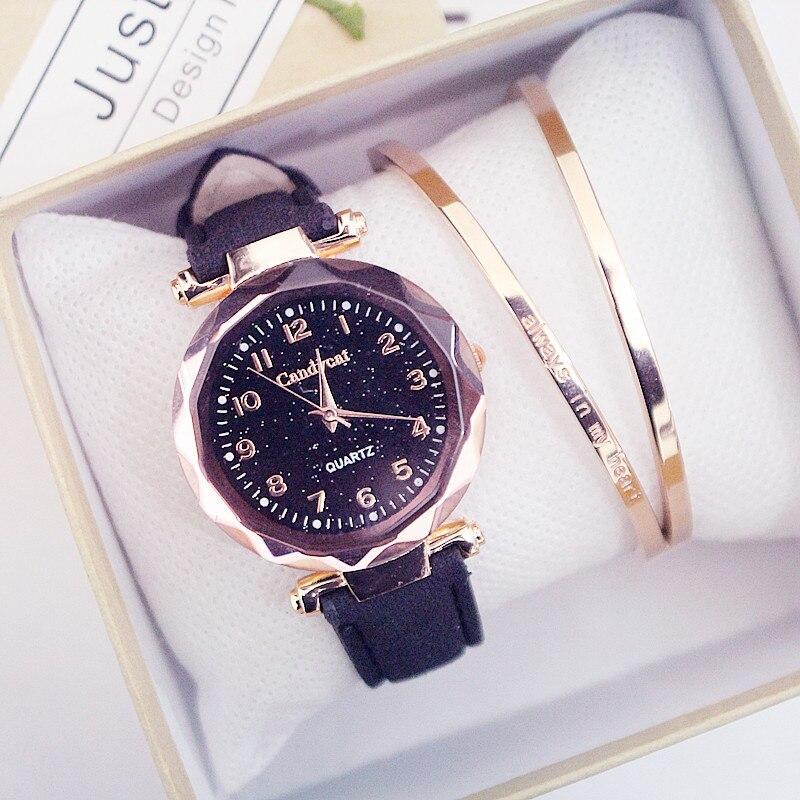 Женские модные часы Лидер продаж дешевые звездное небо женские часы-браслет повседневные кожаные кварцевые наручные часы Часы Relogio Feminino