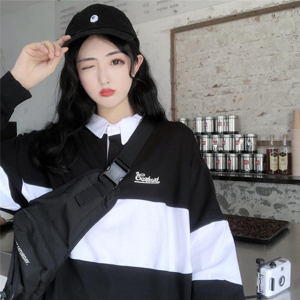 2019 New Women Black Casual Polo Neck Sweatshirt For Couples Long Sleeve Aesthetic Pullover Fashion Feminine Top Harajuku -17