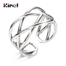 Kinel bague Real Pure 925 Sterling Silver Vintage Layered Rings for Woman Jewelry Wedding Finger Open Ring bijoux femme slovecabin real 925 sterling silver link chain lock finger rings for women vintage napkin wedding rings for women bijoux female