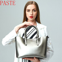Suitable size 32cm * 25cm * 15cm genuine leather women's shoulder bags / color black, brown, red , silver,free shipping