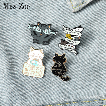 Life is Better with Cats Enamel Pin Custom Cat Fish Coffee Brooches Shirt Lapel Bag Cute Animal Badge Jewelry Gift for Kids 1