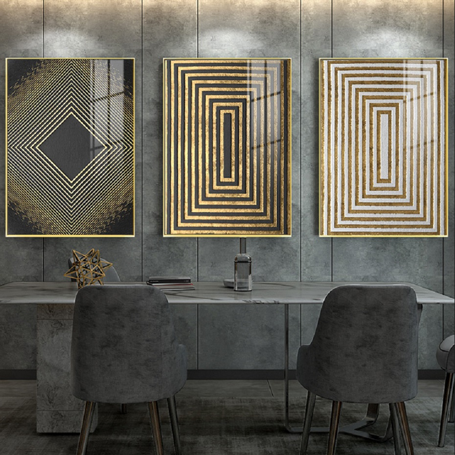 Modern Nordic Luxury Gold Abstract Texture Canvas Print Wall Art Posters Decorative Paintings for Living Room Home Wall Decor