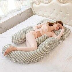 Подушка для беременных большого размера, подушка для поддержки живота, u-образная Подушка для беременных, клетчатая Женская Подушка для сна,...