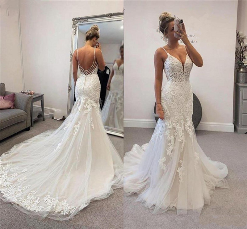 Custom Made 2020 New Design Wedding Dress Mermaid Open Back Tulle Lace Beading Sexy Bridal Wedding Gowns EY44