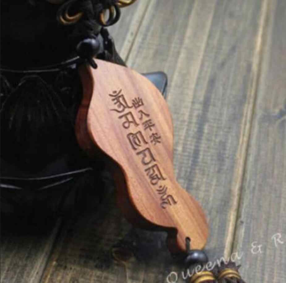 Statua di rame Cinese Nodo di Legno Intagliare Foglia Guan Kwan Yin Statua di Buddha Auto Pendente Amuleto