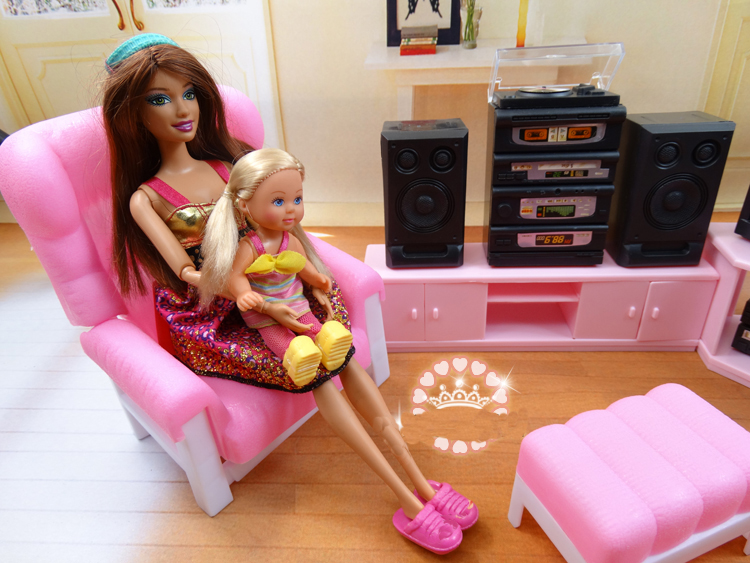 Original For Barbie Tv Play Set Furniture Living Room 1/6 Bjd Mini Doll Accessories Sofa Dream House Furniture Child Toy Gift