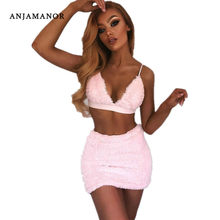ANJAMANOR Faux Fur Roze Sexy Tweedelige Set Halter Bralette Crop Top en Mini Rok Herfst Winter Outfits Club Jurk pak D34-H94(China)