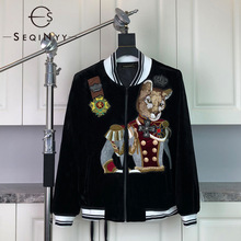 Fashion Jacket Women Embroidery Animal Velvet Winter Plus-Size Top SEQINYY Runway Autumn