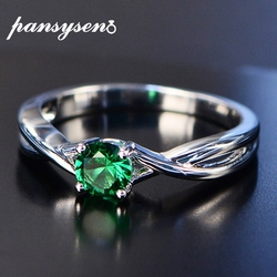 PANSYSEN Exquisite 5mm Round Emerald Rings for Women 100% Real 925 Sterling Silver Gemstone Wedding Party Jewelry Ring Size 6-9