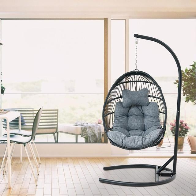 Hanging Egg Swing Chair Wicker Basket Seat with Cushion Steel Support Stand Frame for Home Patio Deck Garden Yard Backyard[US-W] 5
