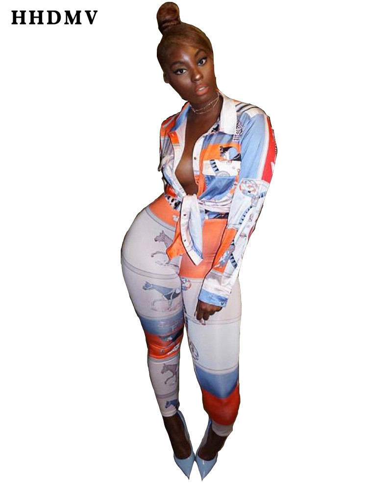 HHDMV OYX655 fashion commuting style sets long sleeve lapel single-breasted top elastic printed long pants two piece sets