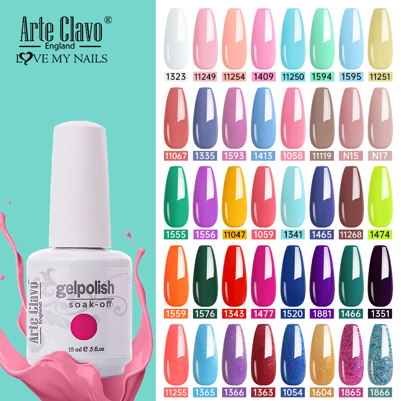 Arte Clavo 15ml Gel Polish Set Semi-permanent Summer Hot Sale Gel Varnish for Nails Lacquer Soak Off UV LED Nail Gel Polish