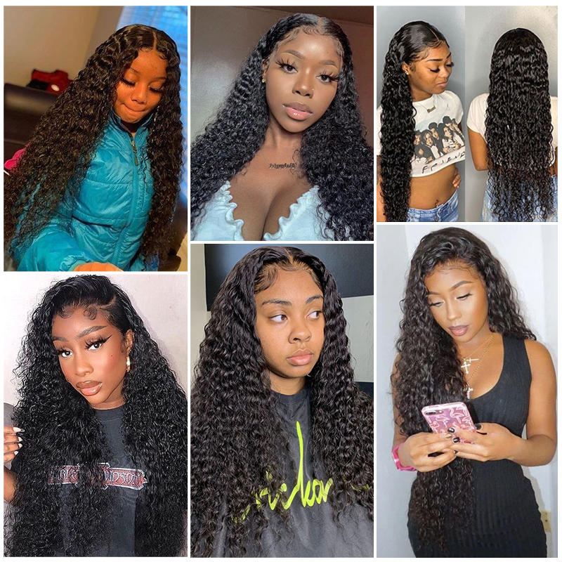 Deep Wave Closure Wig  Lace Frontal Wigs 150 Lace Front Wig Pre Plucked Bleached Knots Wigs  4x4 Frontal Lace Wig 5