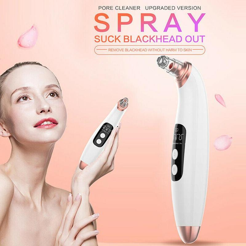 Blackhead Cleaner Lcd Electronic Vacuum Suction Acne Pore Cleaner 6 Cupping Microcrystalline Head Exfoliate Compact Dead Skin