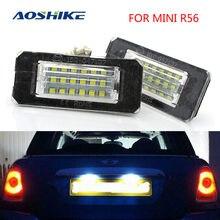 Aoshike 2 pçs branco 18smd carro conduziu a luz da placa de licença contas da lâmpada para mini cooper r56 r57 r58 r59 fonte de luz do carro erro livre