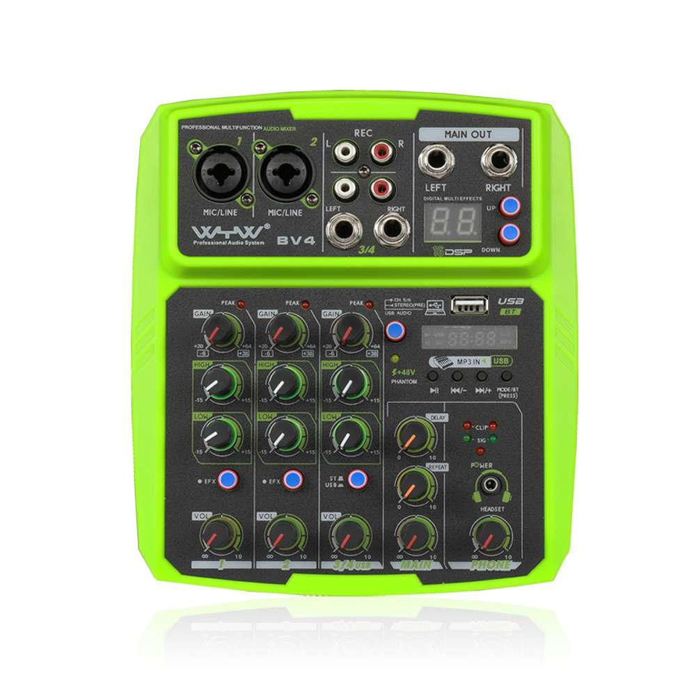 Mini 2 Kanal bluetooth Audio Mixer Soundkarte Konsole DJ Karaoke Live USB MP3 Player Aufnahme Verzögerung Wiederholen Efferts Stereo