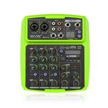 Mini console de áudio 2 canais com bluetooth, console de placa de som para gravação de dj, karaoke, mp3, usb, reprodutor de atraso, repetição
