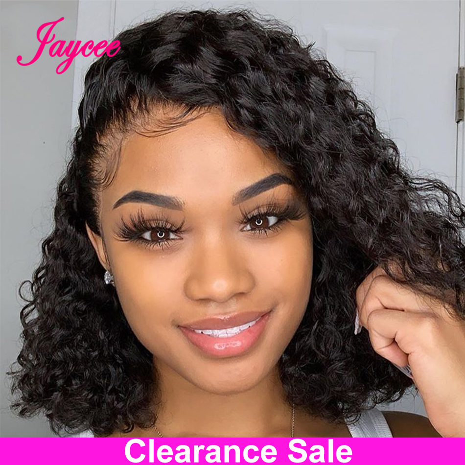 """Curly Lace Front Human Hair Wigs Pre Plucked Curly Bob Wig 150 Density Bob Lace Front Wig For Women PrePlucked Deep Wave Wig 10"""""""