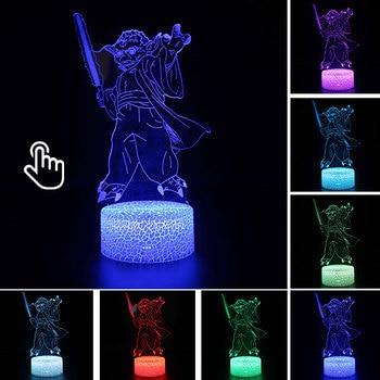 Star Wars Darth Vader Anime Figure Acrylic 3D Illusion LED Lamp Colourful NightLight Death Star Mask Yoda Model Toys Child Gift 16