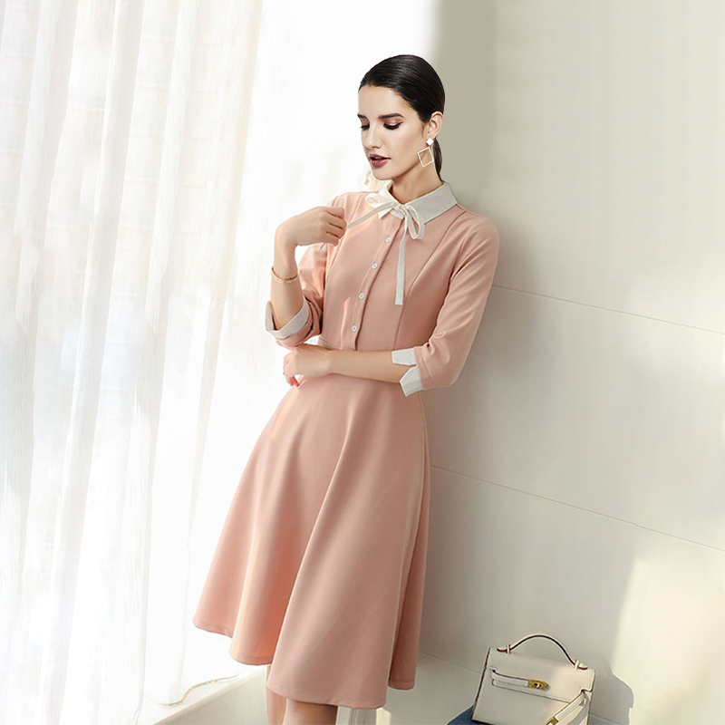 Elegant Party Vintage Korean Style Office Lady Women Dresses Sweet Retro Aline Lapel Bowknot Sexy Female Fashion Pink Midi Dress