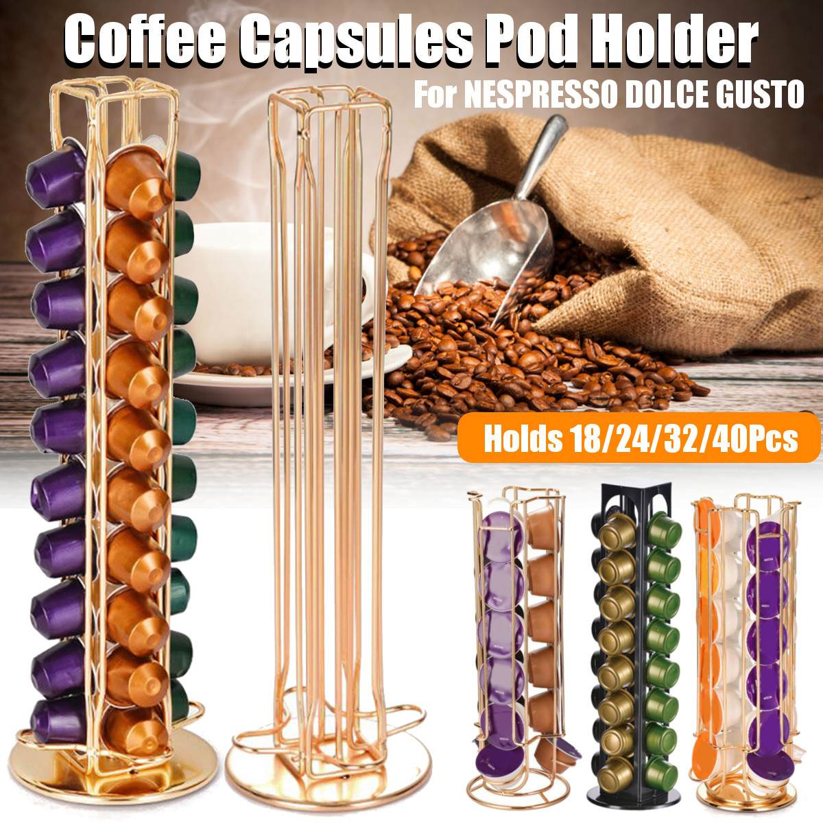 18/24/32/40 Cup Metal Coffee Pods Holder Iron Chrome Plating Stand Coffee Capsule Storage Rack Dolce Gusto Capsule Free Shipping