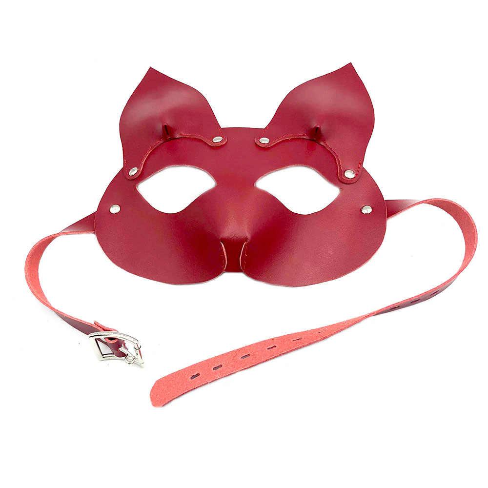 БДСМ фетиш секс-игрушки маска из искусственной кожи лисы экзотические аксессуары подголовник Связывание удерживающая маска раб ролевые игры SM секс игрушки, игра для взрослых