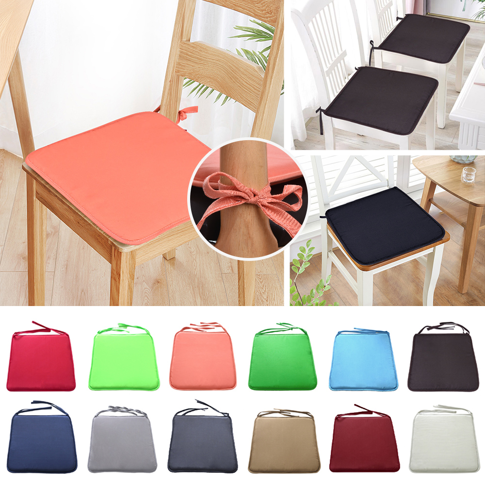 1PC Soft Seat Pad Patio Solid Colorful Garden Square Indoor Dining Tie On Office Chair Foam Cushions 37x37cm
