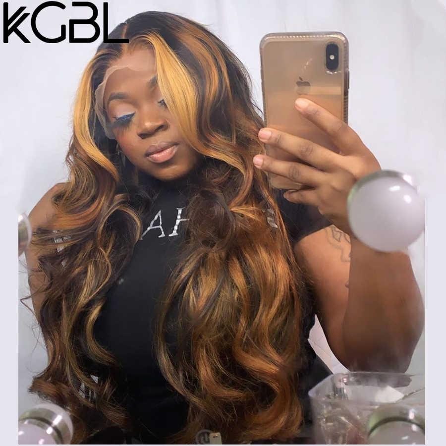 """KGBL 360 dalga dantel ön İnsan saçı peruk bebek saç 250 yoğunluk 8 """"-24"""" brezilyalı olmayan Remy orta oranı siyah kadınlar için"""