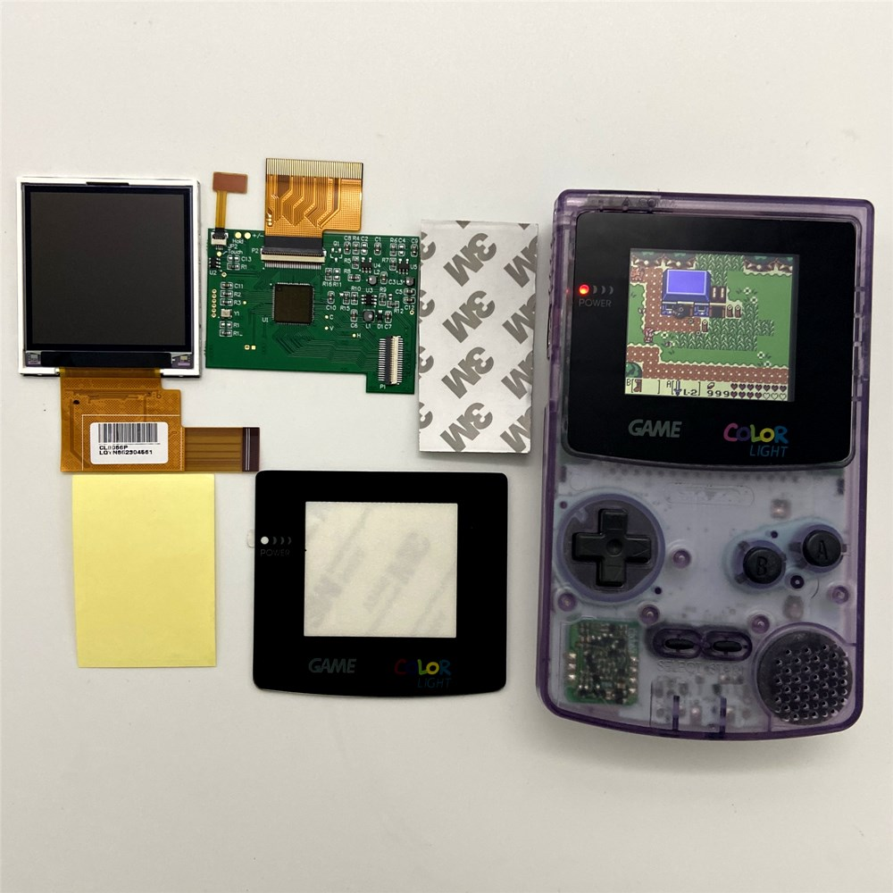 2.2 inches GBC LCD High brightness LCD screen for Gameboy COLOR GBC, plug and play without welding and shell cutting.(China)