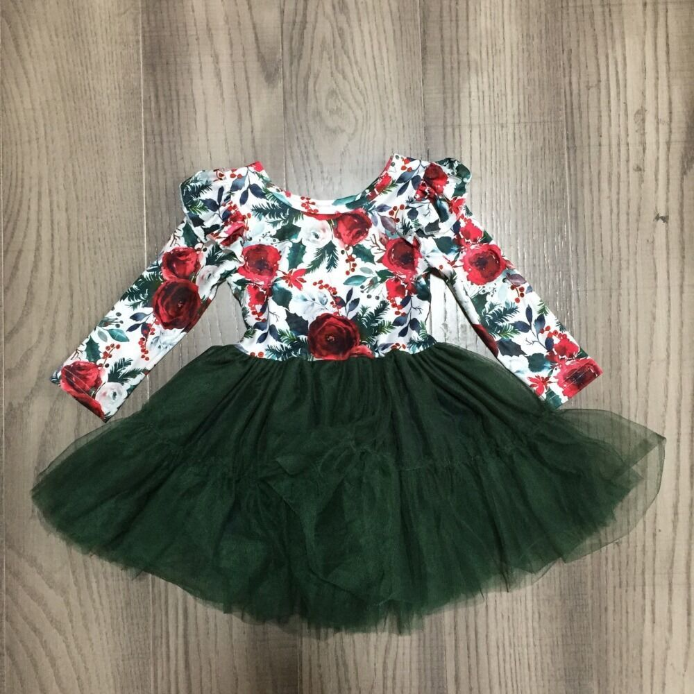 Girlymax outono inverno meninas twirl saia floral bebê verde vestido gauzy