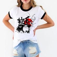 Vintage harajuku kawaii no face totoro t shirt femme Miyazaki Hayaoanime cartoon Spirit Away tshirt women funny t shirts tops цена и фото