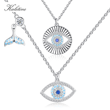 KALETINE Lucky Blue Eye Necklace 925 Sterling Silver Evil Eye Pendant Choker Fishtail Charms Necklac