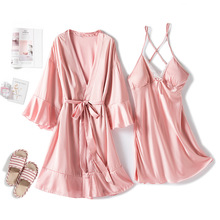 MECHCITIZ Sexy Womens Robe & Gown Sets Lace Bathrobe Night Dress 2 Pieces Sleepwear Womens Sleep Set Silk Robe Femme Lingerie