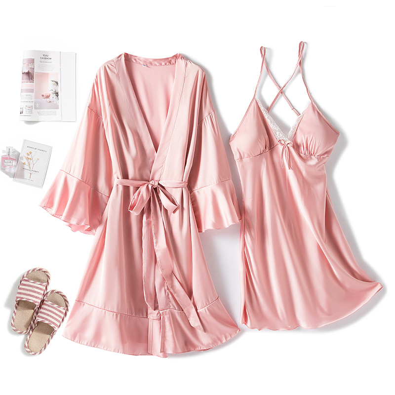 MECHCITIZ, сексуальный женский халат и платье, комплекты, кружевной халат, ночное платье, 2 штуки, пижамы, Женский комплект для сна, шелковый халат, женское бельеКомплекты халатов и сорочек    АлиЭкспресс