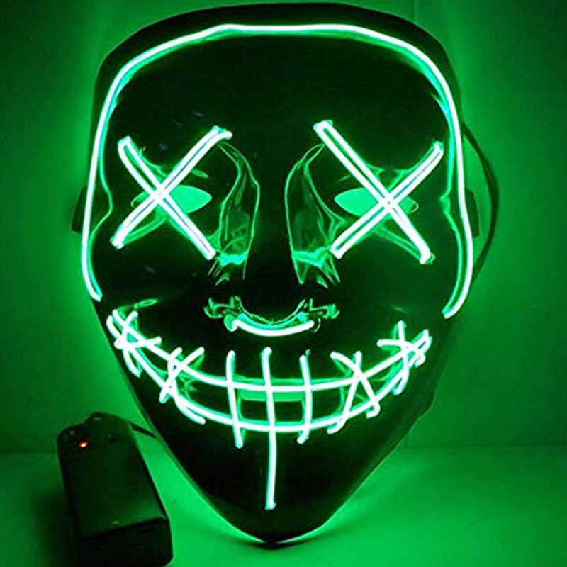 1 шт. светящаяся маска светодиодный светящийся Вечерние Маски для разминки год для выбора Большие Смешные Маски фестиваль Косплей Костюмные принадлежности Светящиеся в темноте - Цвет: H04