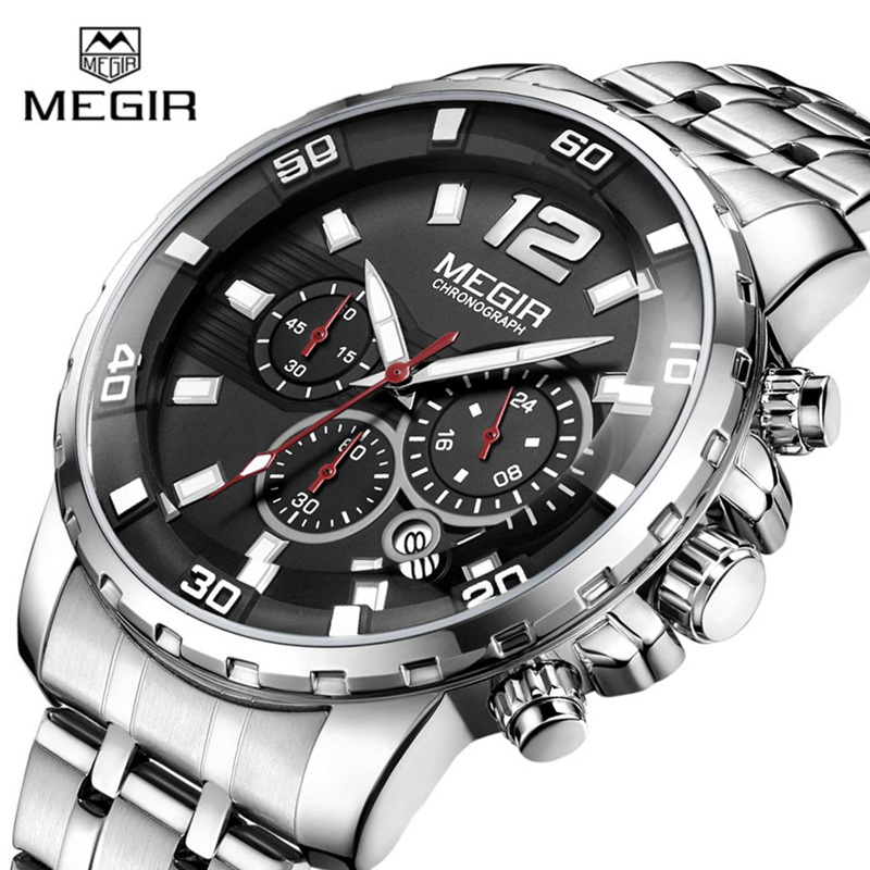 MEGIR Top Brand Luxury Chronograph Quartz Men Watch Sport Wrist Watches Men Clock Relogio Masculino Fashion Gold Watch Men 3ATM