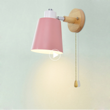 Wooden wall lights bedside lamp with switch modern ligh Nordic macaron sconces bedroom restaurant living room steering