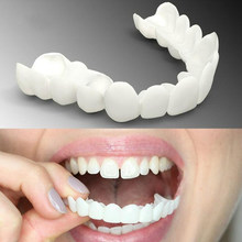 Silicone superior & inferior dentes falsos folheados dentaduras falso dente confortável superior e inferior folheado