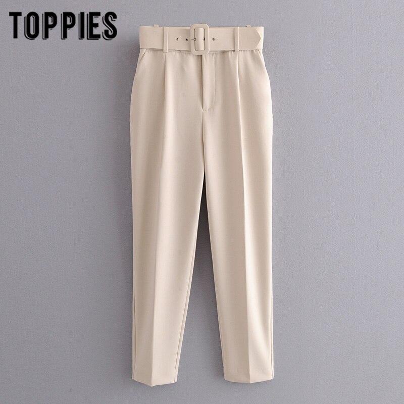 biege suit pants women high waist cargo pants belt solid color trousers joggers pantalones de mujer 1