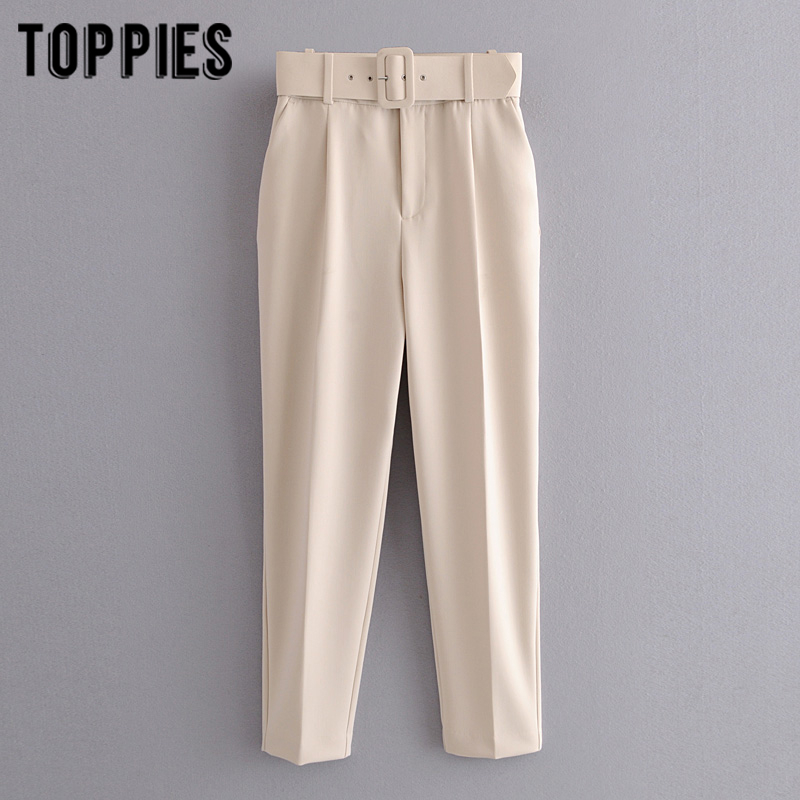 Biege Suit Pants Women High Waist Cargo Pants Belt Solid Color Trousers Joggers Pantalones De Mujer